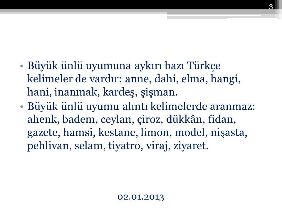 Büyük ünlü uyumuna aykırı bazı Türkçe kelimeler de vardır: anne, dahi, elma, hangi, hani, inanmak, kardeş, şişman.