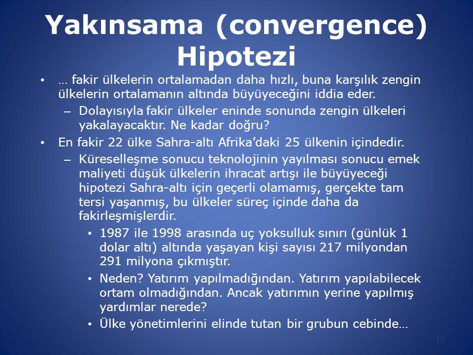 Yakınsama (convergence) Hipotezi … fakir ülkelerin ortalamadan daha hızlı, buna karşılık zengin ülkelerin ortalamanın altında büyüyeceğini iddia eder.
