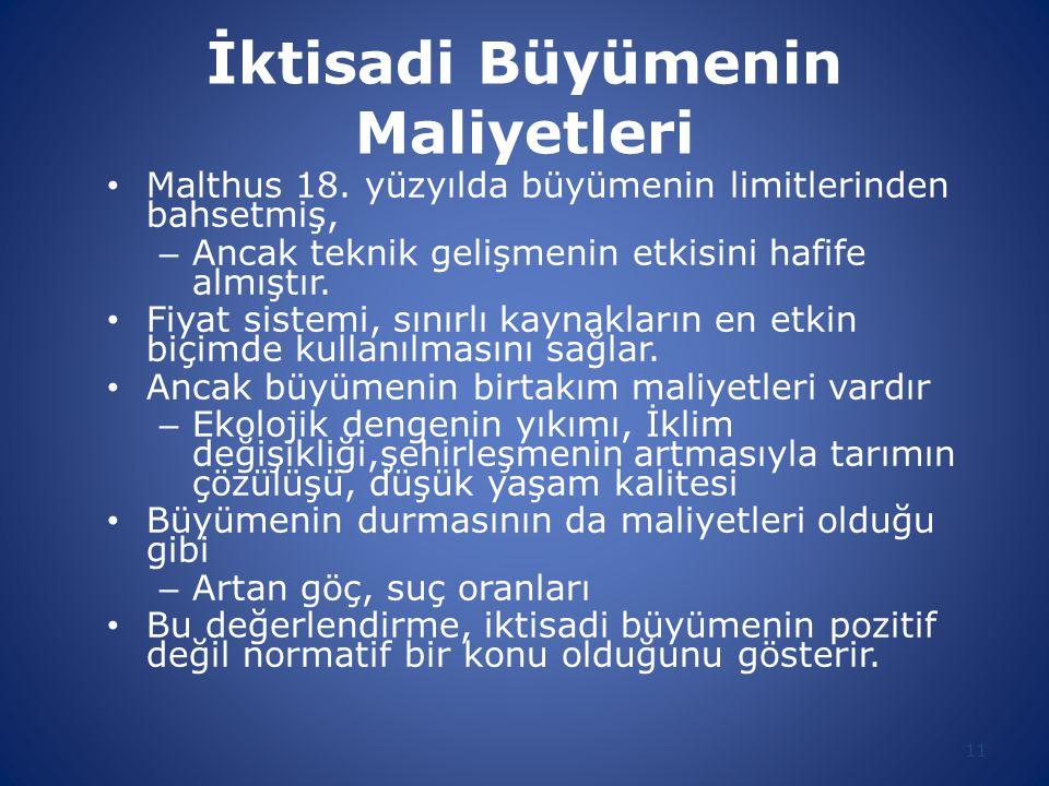 İktisadi Büyümenin Maliyetleri Malthus 18.