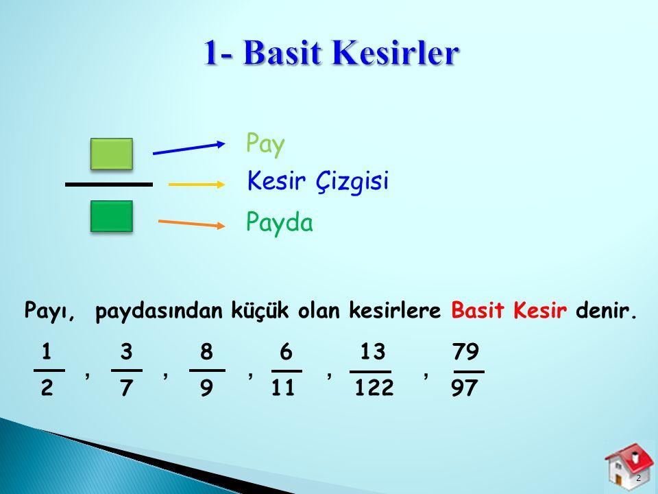  1- Basit Kesirler +(Birim Kesirler) 2- Bileşik Kesirler 3- Tamsayılı Kesirler 1