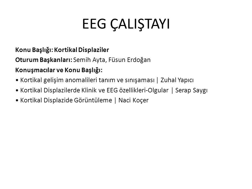 EEG ÇALIŞTAYI Konu Başlığı: Kortikal Displaziler Oturum Başkanları: Semih Ayta, Füsun Erdoğan Konuşmacılar ve Konu Başlığı: Kortikal gelişim anomalile