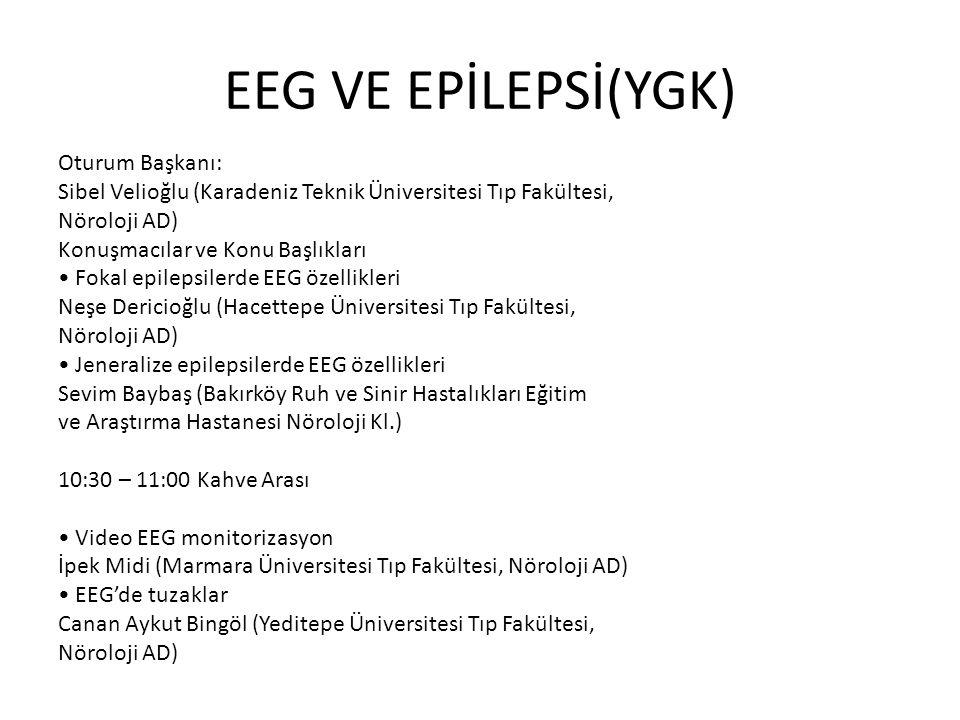 EEG VE EPİLEPSİ(YGK) Oturum Başkanı: Sibel Velioğlu (Karadeniz Teknik Üniversitesi Tıp Fakültesi, Nöroloji AD) Konuşmacılar ve Konu Başlıkları Fokal e