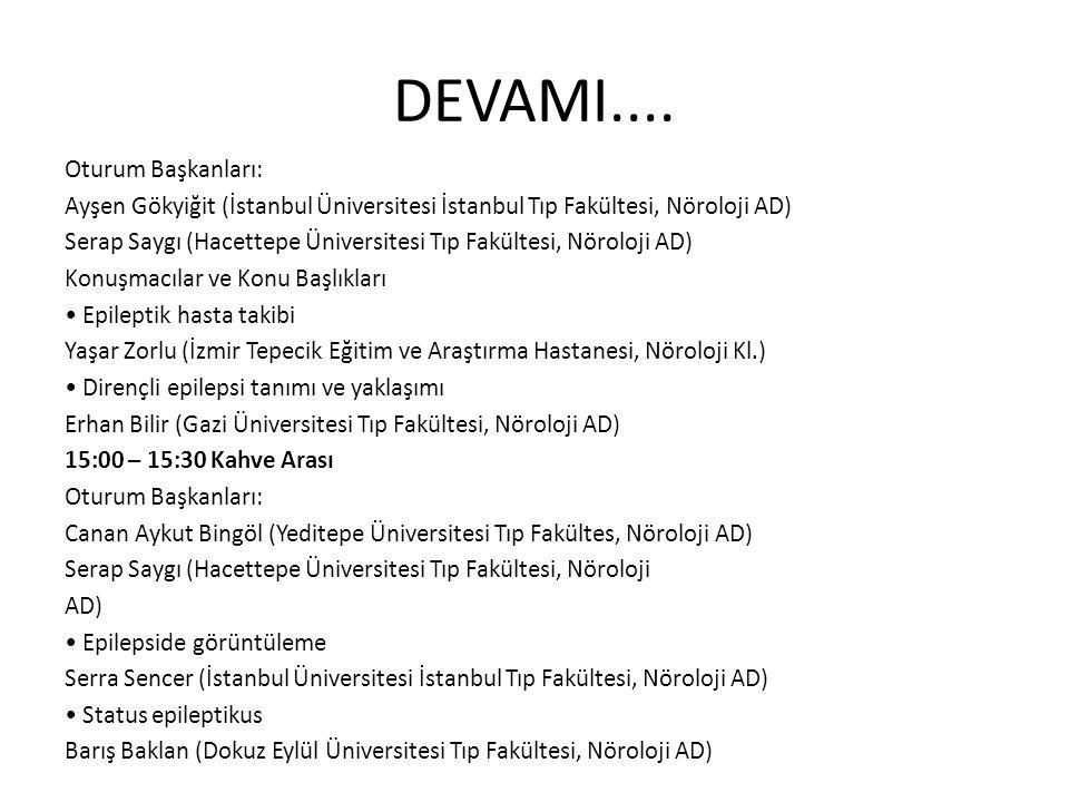 DEVAMI.... Oturum Başkanları: Ayşen Gökyiğit (İstanbul Üniversitesi İstanbul Tıp Fakültesi, Nöroloji AD) Serap Saygı (Hacettepe Üniversitesi Tıp Fakül