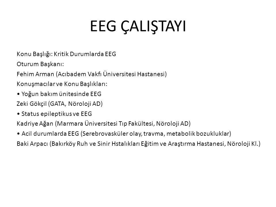 EEG ÇALIŞTAYI Konu Başlığı: Kritik Durumlarda EEG Oturum Başkanı: Fehim Arman (Acıbadem Vakfı Üniversitesi Hastanesi) Konuşmacılar ve Konu Başlıkları: