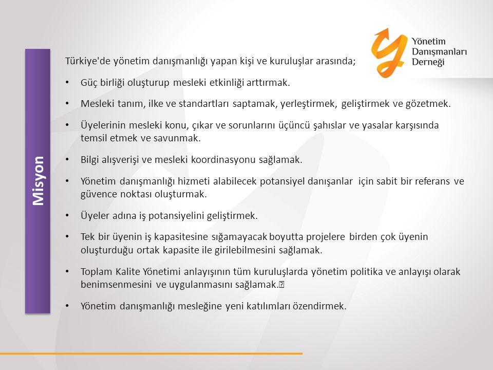 Misyon Türkiye'de yönetim danışmanlığı yapan kişi ve kuruluşlar arasında; Güç birliği oluşturup mesleki etkinliği arttırmak. Mesleki tanım, ilke ve st