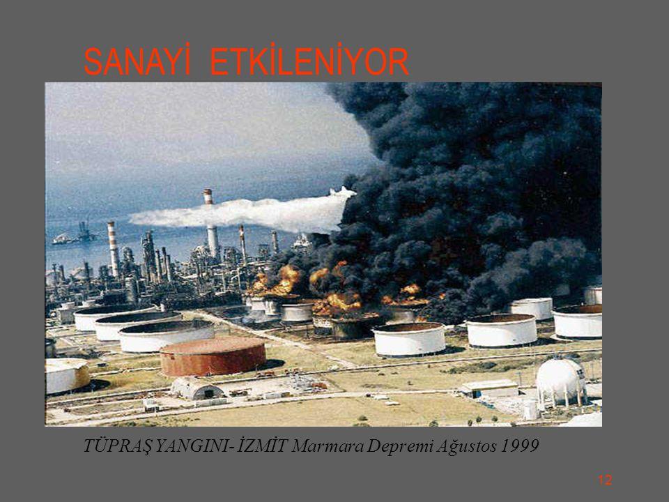 TÜPRAŞ YANGINI- İZMİT Marmara Depremi Ağustos 1999 SANAYİ ETKİLENİYOR 12