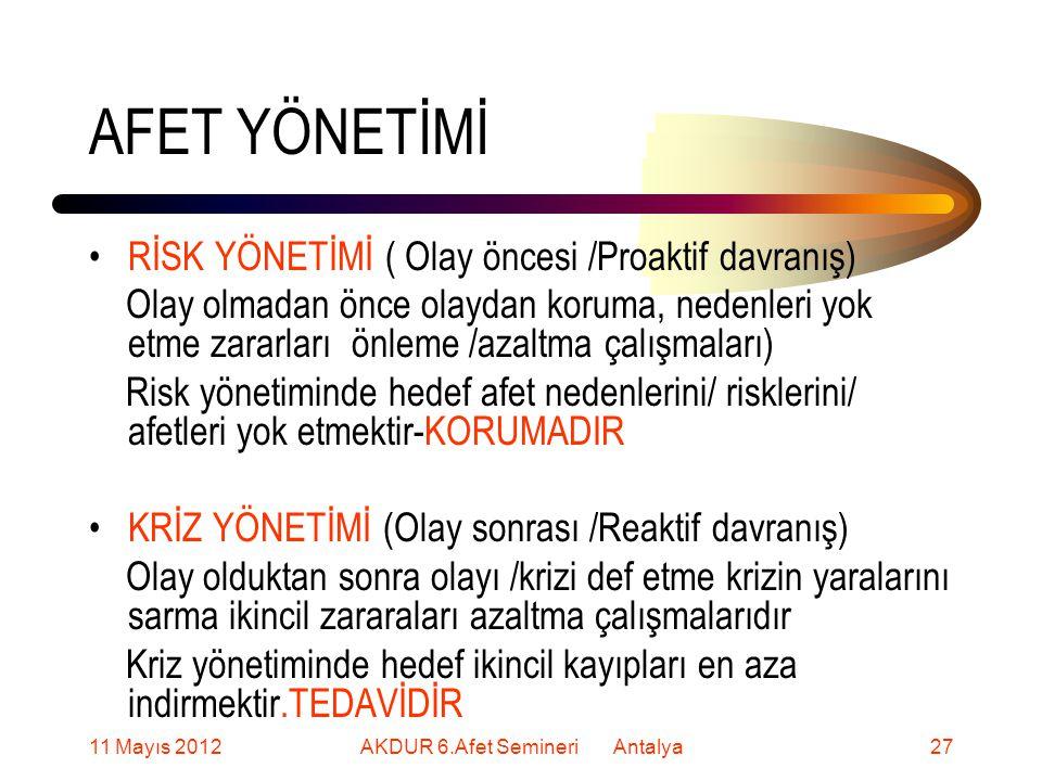 AFET YÖNETİMİ RİSK YÖNETİMİ ( Olay öncesi /Proaktif davranış) Olay olmadan önce olaydan koruma, nedenleri yok etme zararları önleme /azaltma çalışmaları) Risk yönetiminde hedef afet nedenlerini/ risklerini/ afetleri yok etmektir-KORUMADIR KRİZ YÖNETİMİ (Olay sonrası /Reaktif davranış) Olay olduktan sonra olayı /krizi def etme krizin yaralarını sarma ikincil zararaları azaltma çalışmalarıdır Kriz yönetiminde hedef ikincil kayıpları en aza indirmektir.TEDAVİDİR 11 Mayıs 201227AKDUR 6.Afet Semineri Antalya