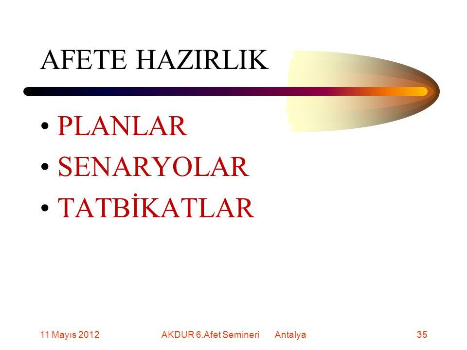 AFETE HAZIRLIK PLANLAR SENARYOLAR TATBİKATLAR 11 Mayıs 201235AKDUR 6.Afet Semineri Antalya