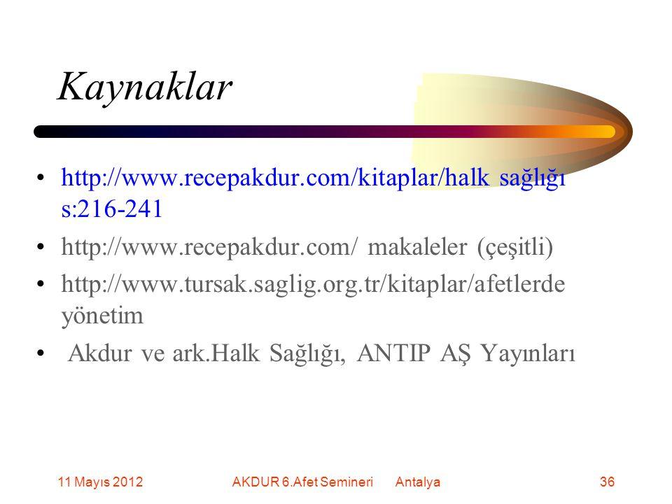 Kaynaklar http://www.recepakdur.com/kitaplar/halk sağlığı s:216-241 http://www.recepakdur.com/ makaleler (çeşitli) http://www.tursak.saglig.org.tr/kitaplar/afetlerde yönetim Akdur ve ark.Halk Sağlığı, ANTIP AŞ Yayınları 11 Mayıs 201236AKDUR 6.Afet Semineri Antalya