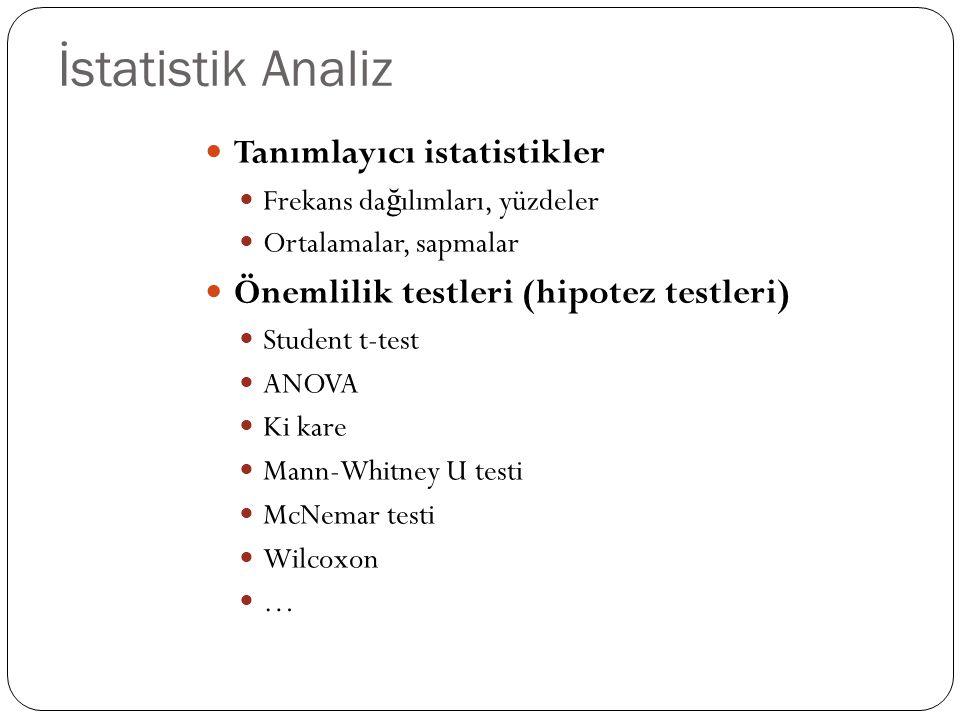 İstatistik Analiz Tanımlayıcı istatistikler Frekans da ğ ılımları, yüzdeler Ortalamalar, sapmalar Önemlilik testleri (hipotez testleri) Student t-test