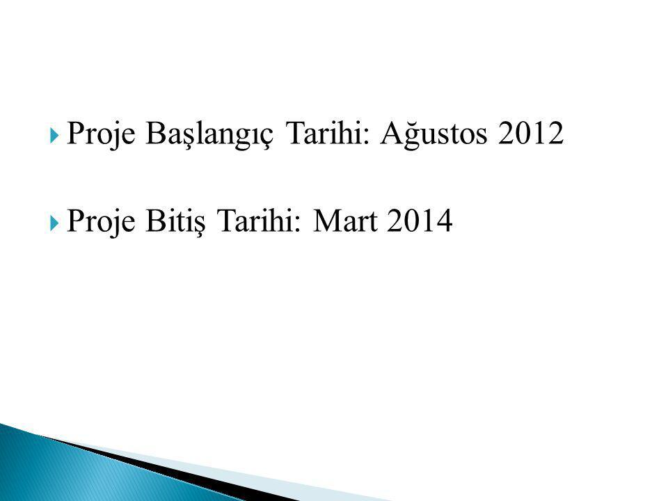  Proje Başlangıç Tarihi: Ağustos 2012  Proje Bitiş Tarihi: Mart 2014