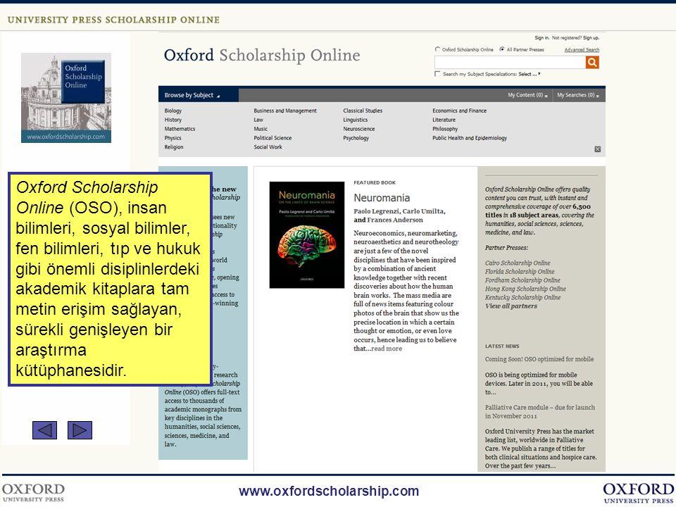 Bu sunum Oxford Scholarship Online hakkında kısa bir bilgi sunmaktadır.