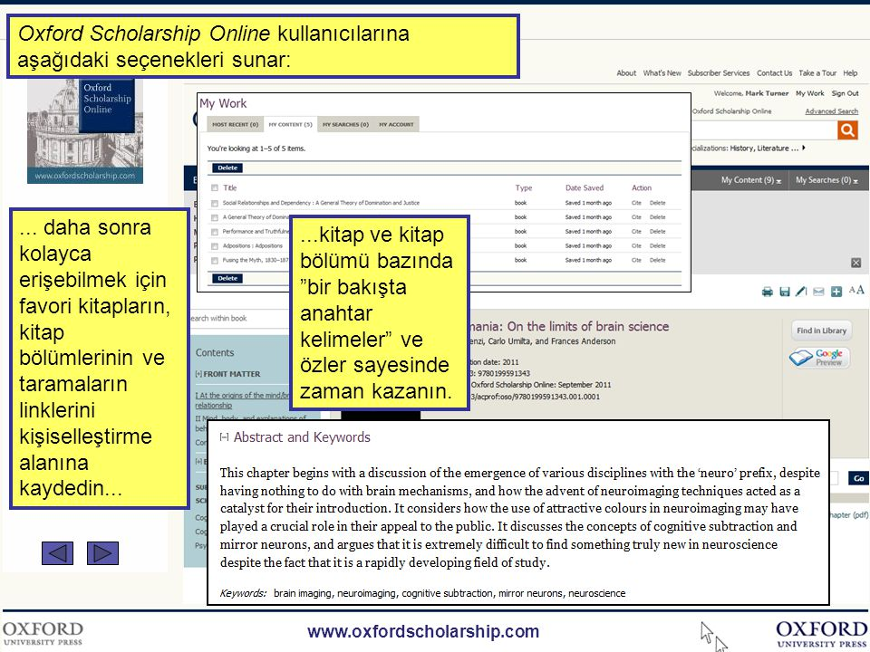 www.oxfordscholarship.com Oxford Scholarship Online kullanıcılarına aşağıdaki seçenekleri sunar:...içeriği farklı şekillerde görüntüleme ve paylaşma: ekrandan yazıcı dostu görüntüleme, pdf formatında e-posta üzerinde sosyal ağlar üzerinden