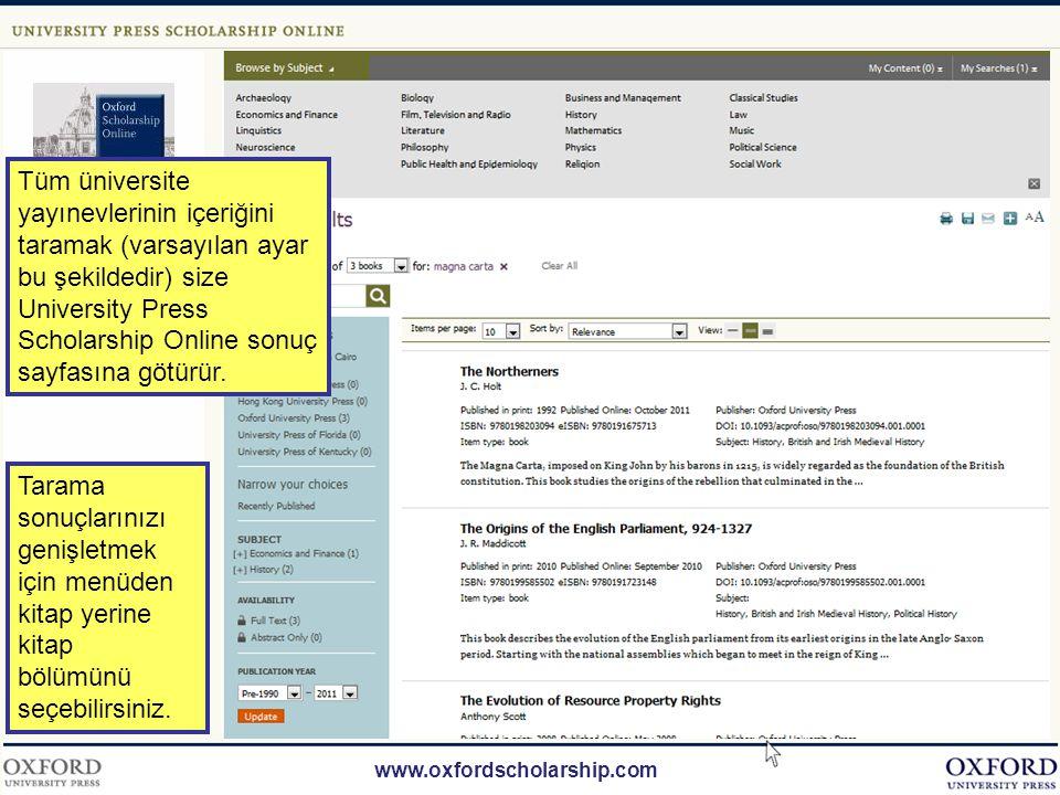 www.oxfordscholarship.com Tüm konu alanlarındaki tarama sonuçlarını görüntülemek için üst sağda bulunan tarama kutucuğunu kullanın.