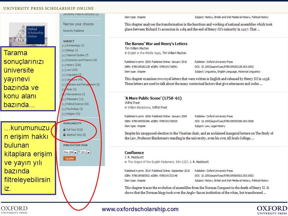 www.oxfordscholarship.com Tarama sonuçlarınızı genişletmek için menüden kitap yerine kitap bölümünü seçebilirsiniz.