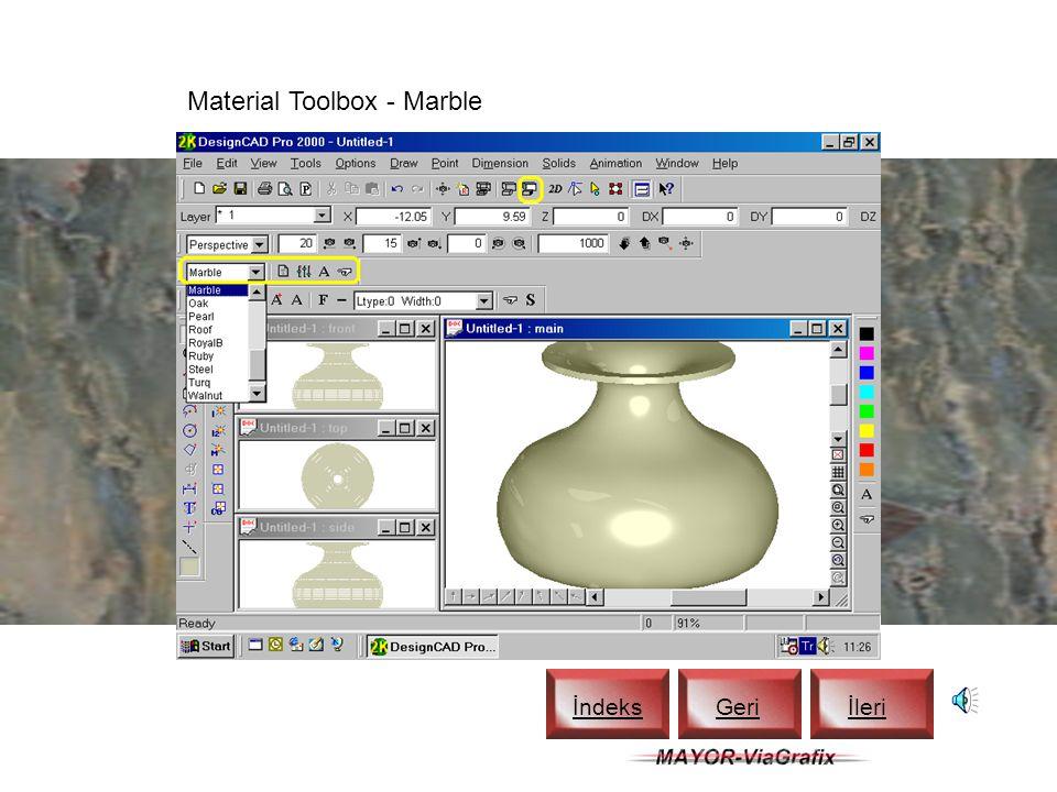 Material Toolbox için Açma-Kapama İndeks Geriİleri