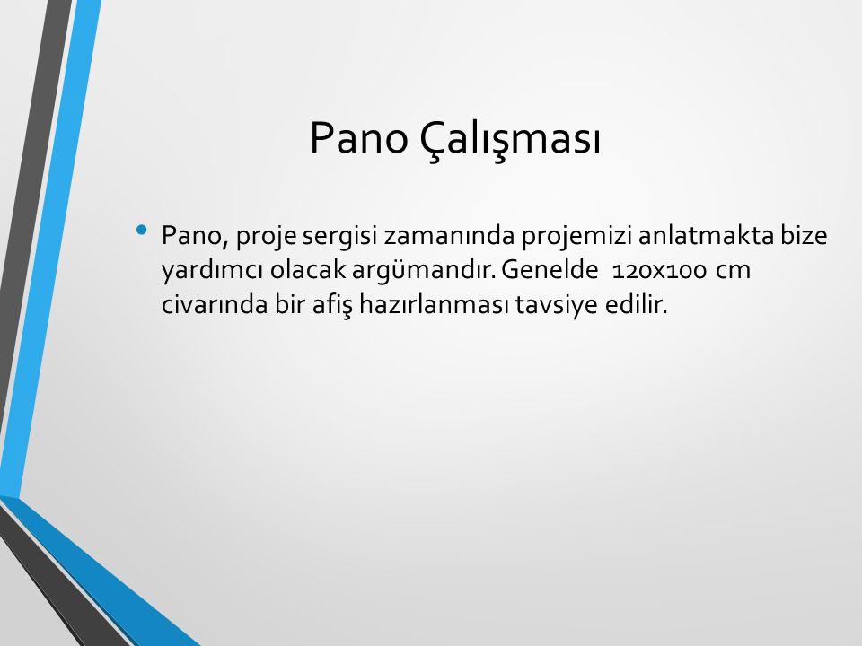 Pano Çalışması Pano, proje sergisi zamanında projemizi anlatmakta bize yardımcı olacak argümandır. Genelde 120x100 cm civarında bir afiş hazırlanması