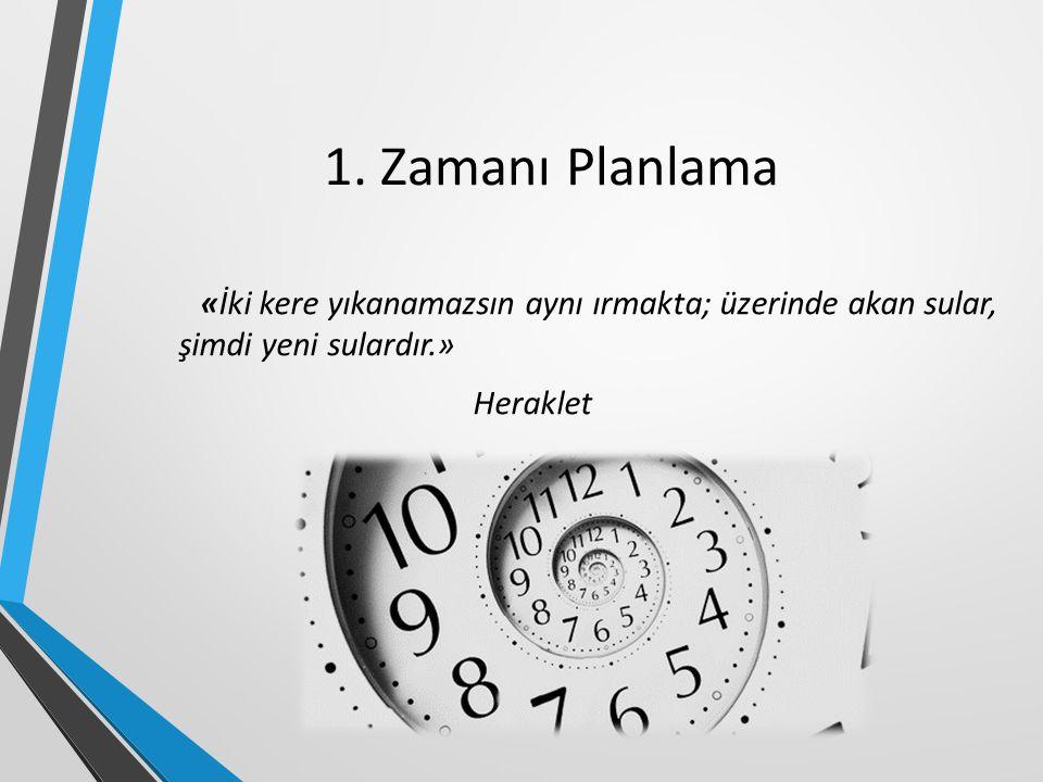 1. Zamanı Planlama «İki kere yıkanamazsın aynı ırmakta; üzerinde akan sular, şimdi yeni sulardır.» Heraklet