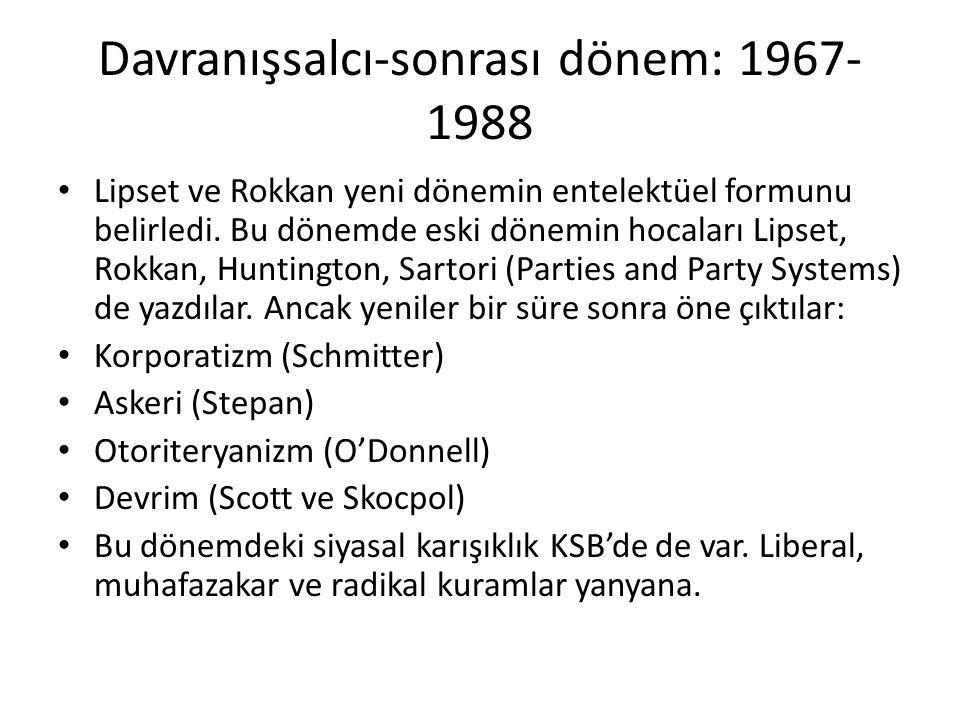 Davranışsalcı-sonrası dönem: 1967- 1988 Lipset ve Rokkan yeni dönemin entelektüel formunu belirledi. Bu dönemde eski dönemin hocaları Lipset, Rokkan,