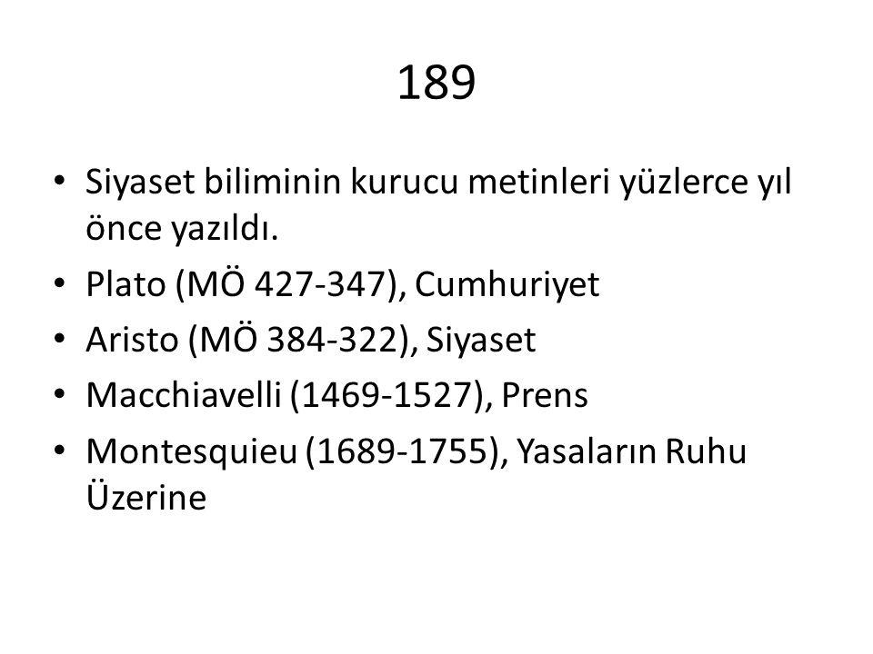 189 Siyaset biliminin kurucu metinleri yüzlerce yıl önce yazıldı. Plato (MÖ 427-347), Cumhuriyet Aristo (MÖ 384-322), Siyaset Macchiavelli (1469-1527)