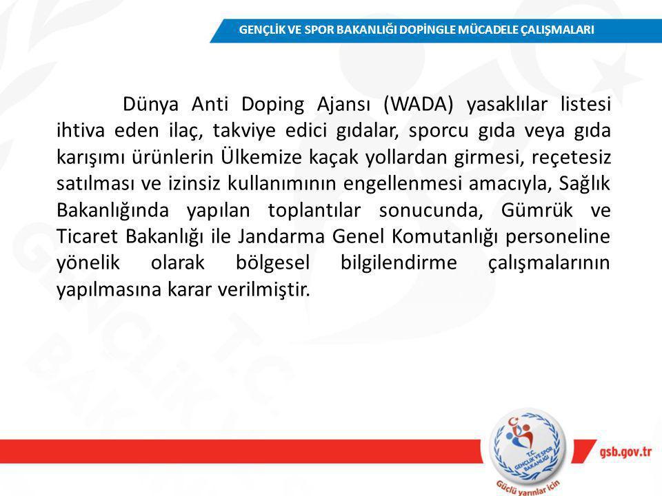 Dünya Anti Doping Ajansı (WADA) yasaklılar listesi ihtiva eden ilaç, takviye edici gıdalar, sporcu gıda veya gıda karışımı ürünlerin Ülkemize kaçak yo
