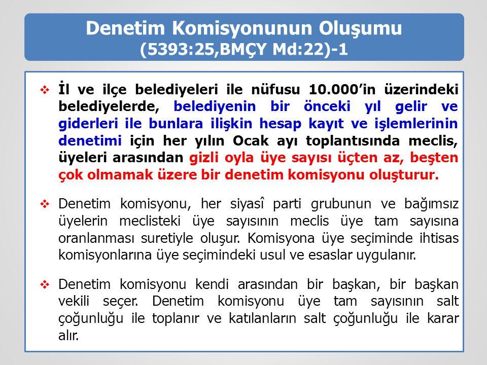 Denetim Komisyonunun Oluşumu (5393:25,BMÇY Md:22)-1  İl ve ilçe belediyeleri ile nüfusu 10.000'in üzerindeki belediyelerde, belediyenin bir önceki yı