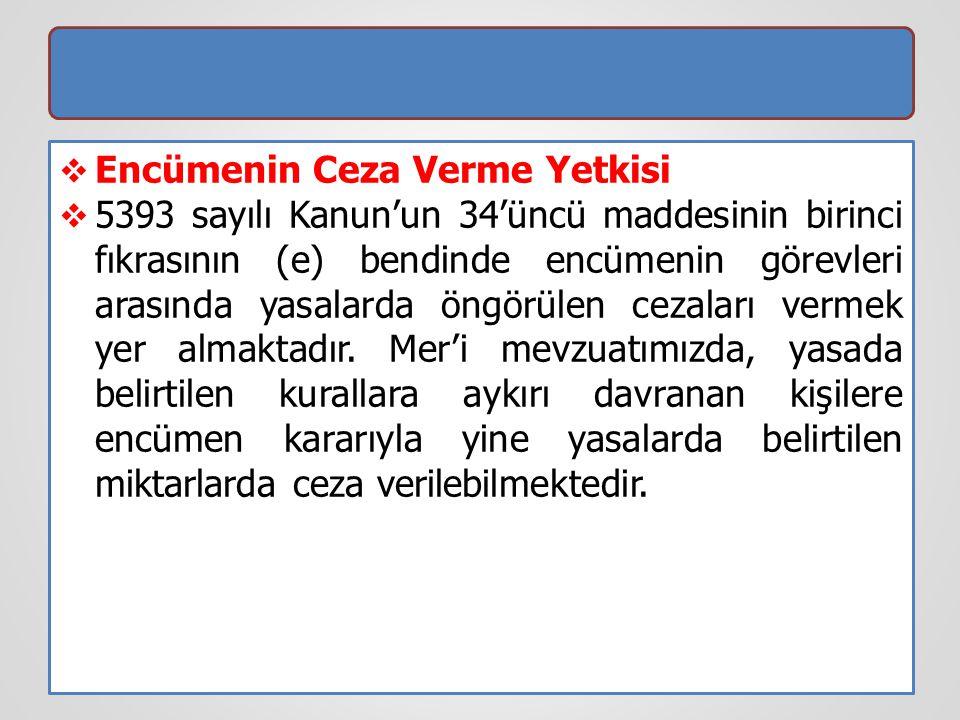  Encümenin Ceza Verme Yetkisi  5393 sayılı Kanun'un 34'üncü maddesinin birinci fıkrasının (e) bendinde encümenin görevleri arasında yasalarda öngörü