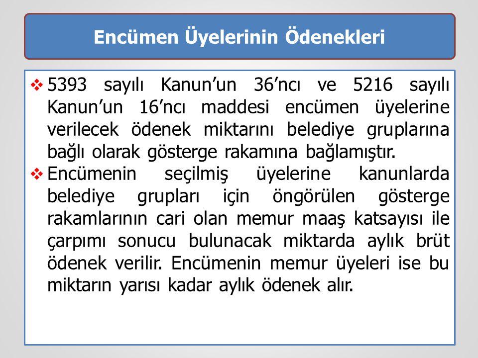 Encümen Üyelerinin Ödenekleri  5393 sayılı Kanun'un 36'ncı ve 5216 sayılı Kanun'un 16'ncı maddesi encümen üyelerine verilecek ödenek miktarını beledi
