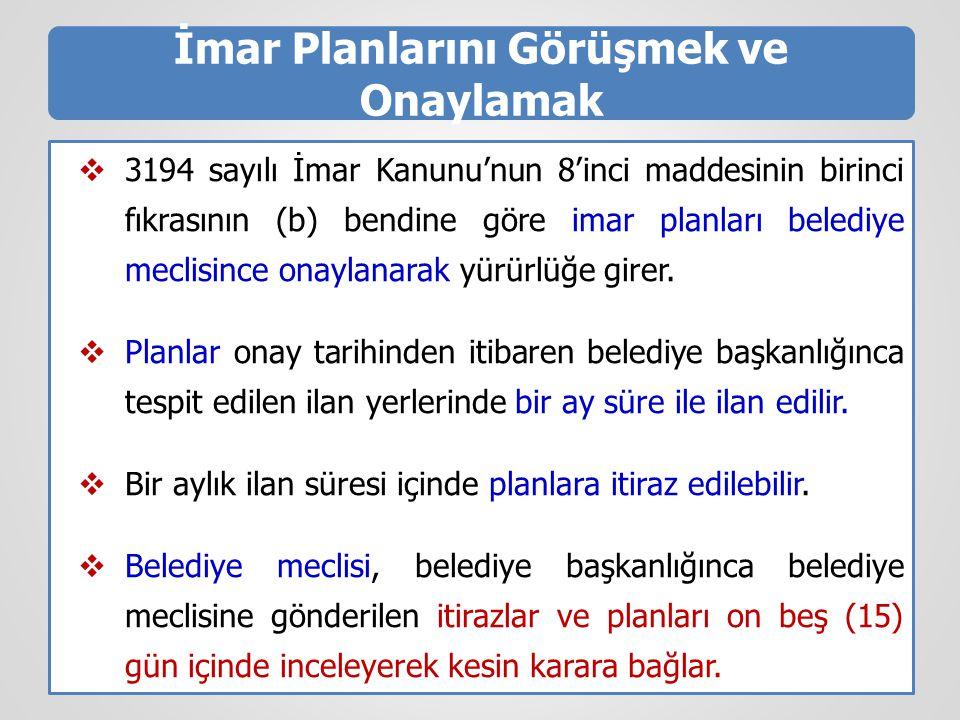 İmar Planlarını Görüşmek ve Onaylamak  3194 sayılı İmar Kanunu'nun 8'inci maddesinin birinci fıkrasının (b) bendine göre imar planları belediye mecli