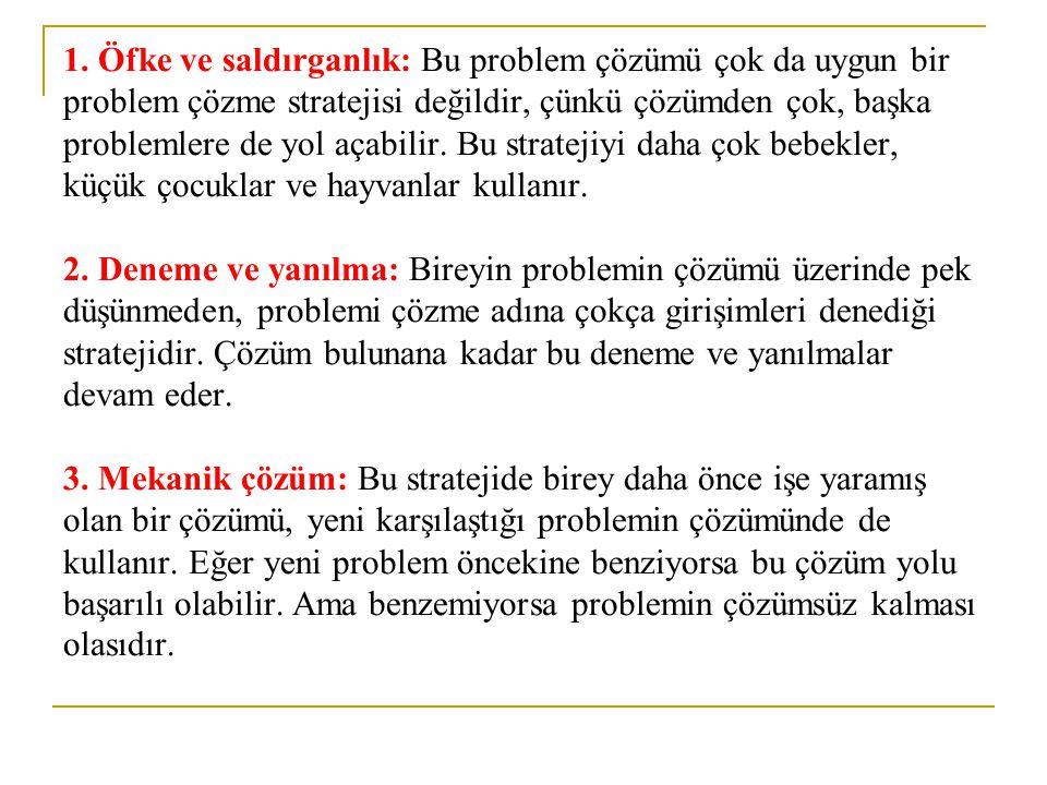 1. Öfke ve saldırganlık: Bu problem çözümü çok da uygun bir problem çözme stratejisi değildir, çünkü çözümden çok, başka problemlere de yol açabilir.