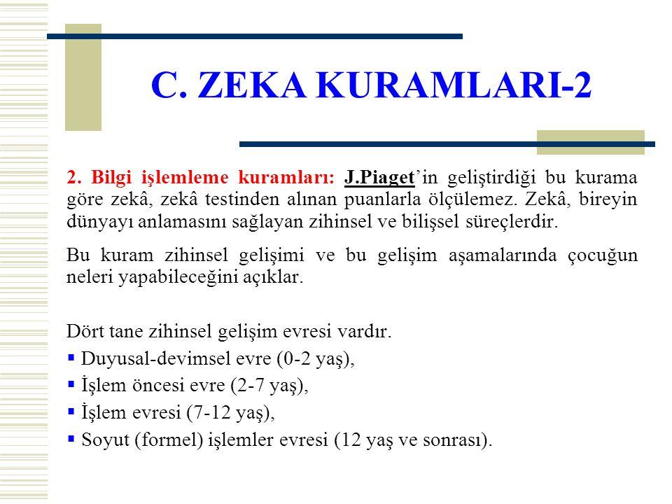 C. ZEKA KURAMLARI-2 2. Bilgi işlemleme kuramları: J.Piaget'in geliştirdiği bu kurama göre zekâ, zekâ testinden alınan puanlarla ölçülemez. Zekâ, birey