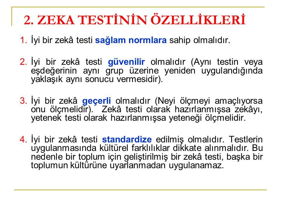 2. ZEKA TESTİNİN ÖZELLİKLERİ 1.İyi bir zekâ testi sağlam normlara sahip olmalıdır. 2.İyi bir zekâ testi güvenilir olmalıdır (Aynı testin veya eşdeğeri