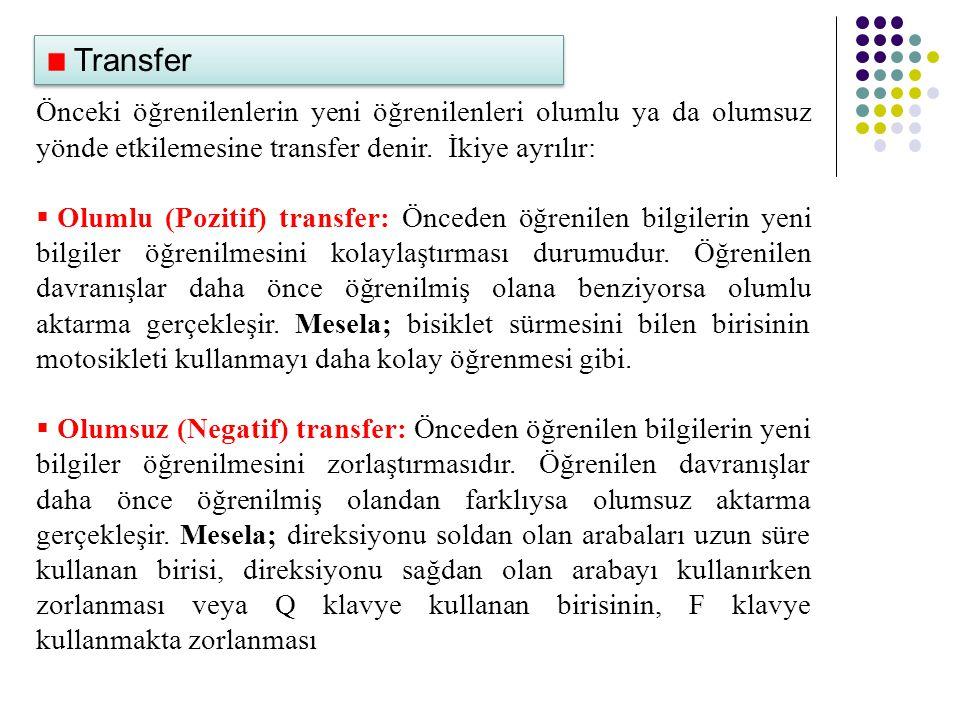 Transfer Önceki öğrenilenlerin yeni öğrenilenleri olumlu ya da olumsuz yönde etkilemesine transfer denir. İkiye ayrılır:  Olumlu (Pozitif) transfer: