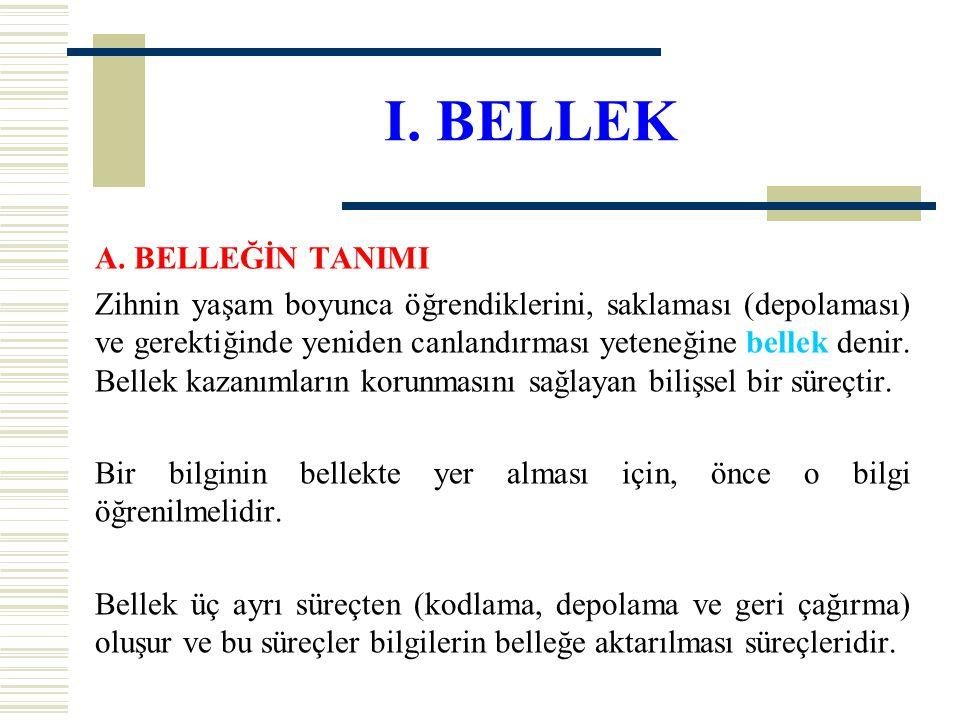 I. BELLEK A. BELLEĞİN TANIMI Zihnin yaşam boyunca öğrendiklerini, saklaması (depolaması) ve gerektiğinde yeniden canlandırması yeteneğine bellek denir