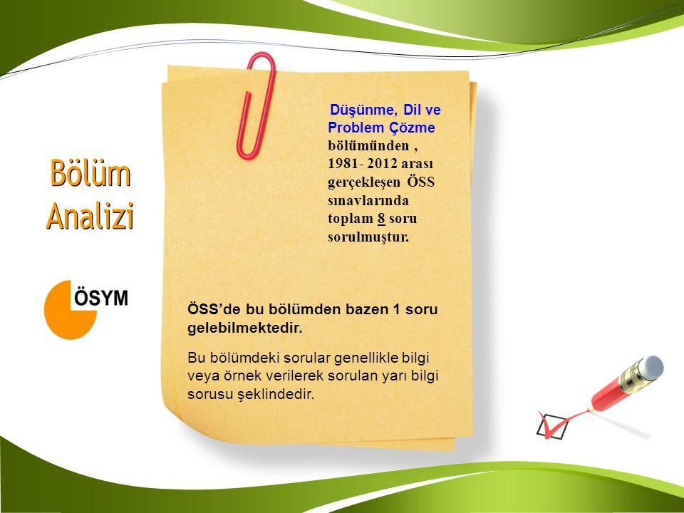 Düşünme, Dil ve Problem Çözme bölümünden, 1981- 2012 arası gerçekleşen ÖSS sınavlarında toplam 8 soru sorulmuştur. ÖSS'de bu bölümden bazen 1 soru gel