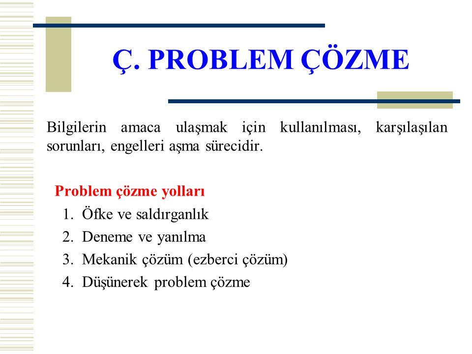 Ç. PROBLEM ÇÖZME Bilgilerin amaca ulaşmak için kullanılması, karşılaşılan sorunları, engelleri aşma sürecidir. Problem çözme yolları 1. Öfke ve saldır