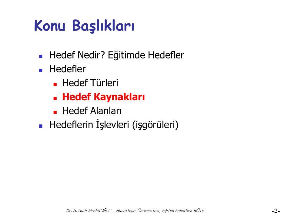 Eğitimde Hedefler Hedef Kaynakları Dr. Süleyman Sadi SEFEROĞLU Hacettepe Üniversitesi, Eğitim Fakültesi Bilgisayar ve Öğretim Teknolojileri Eğitimi Bö