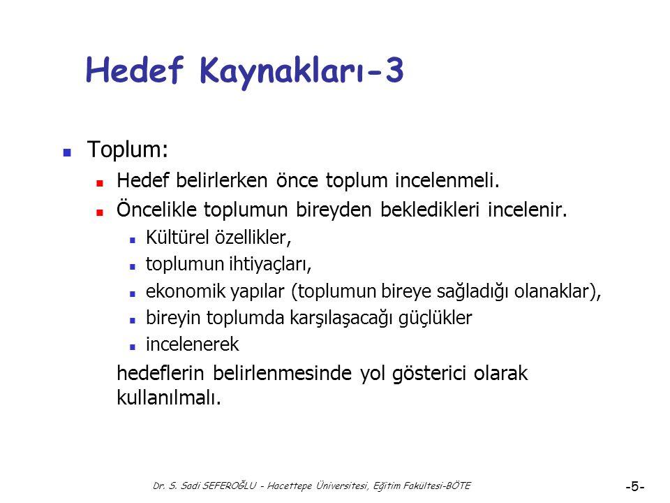 """Dr. S. Sadi SEFEROĞLU - Hacettepe Üniversitesi, Eğitim Fakültesi-BÖTE -4- Hedef Kaynakları-2 Bir programın geliştirilmesi sürecinde öncelikle """"Aday He"""