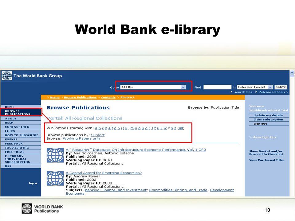 10 World Bank e-library