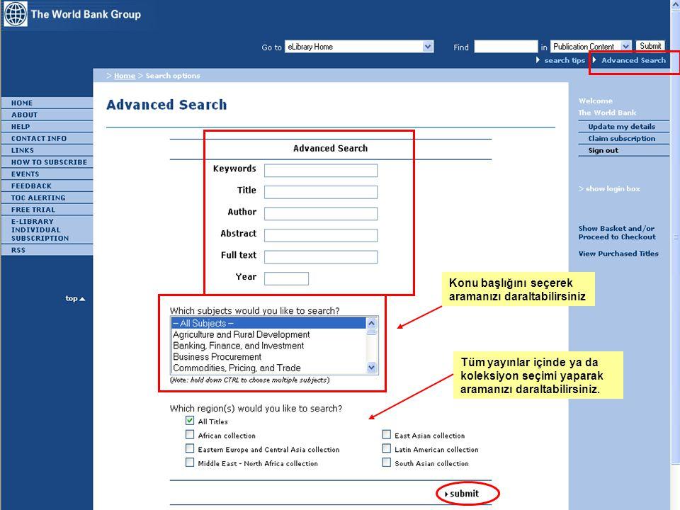 15 e-Library Konu başlığını seçerek aramanızı daraltabilirsiniz Tüm yayınlar içinde ya da koleksiyon seçimi yaparak aramanızı daraltabilirsiniz.