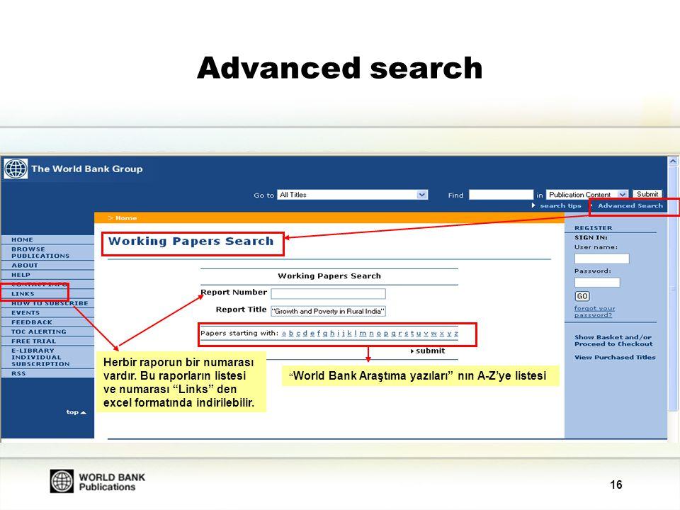 16 Advanced search World Bank Araştıma yazıları nın A-Z'ye listesi Herbir raporun bir numarası vardır.