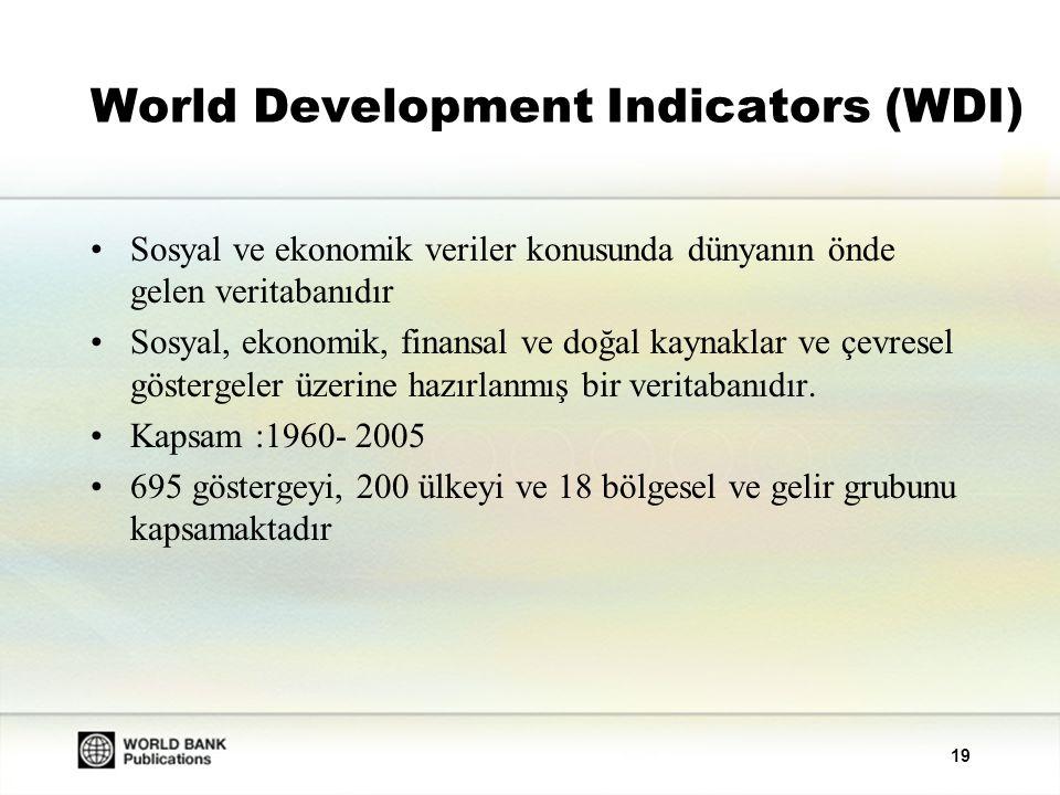 19 World Development Indicators (WDI) Sosyal ve ekonomik veriler konusunda dünyanın önde gelen veritabanıdır Sosyal, ekonomik, finansal ve doğal kaynaklar ve çevresel göstergeler üzerine hazırlanmış bir veritabanıdır.