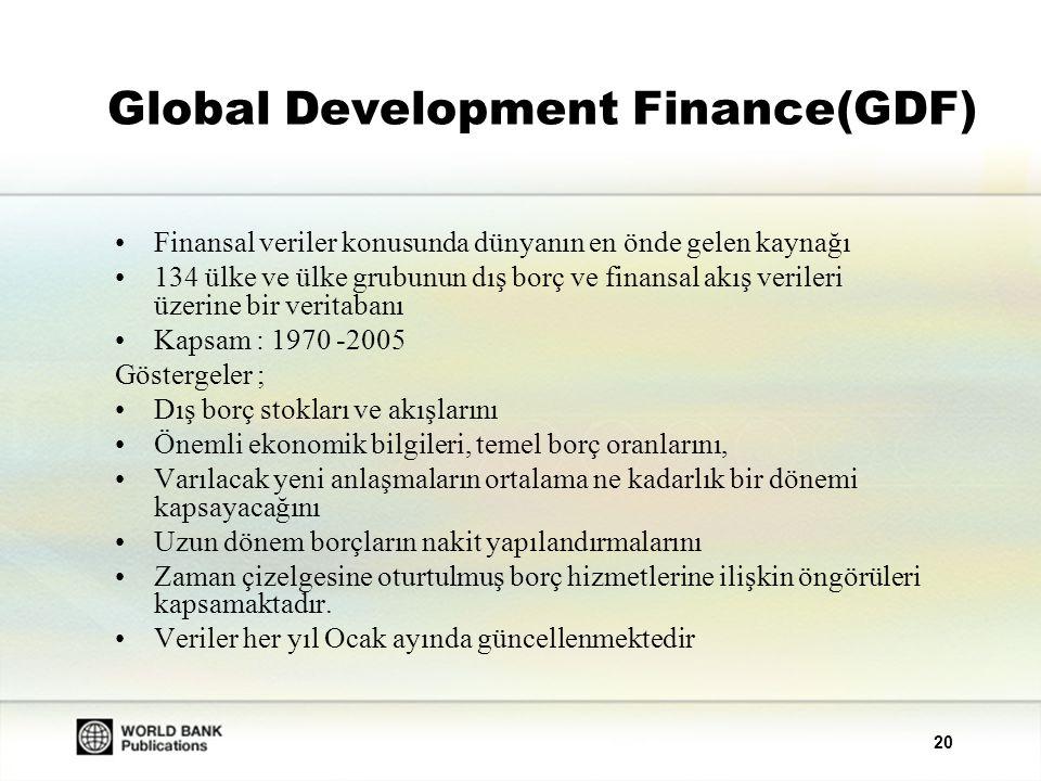 20 Global Development Finance(GDF) Finansal veriler konusunda dünyanın en önde gelen kaynağı 134 ülke ve ülke grubunun dış borç ve finansal akış verileri üzerine bir veritabanı Kapsam : 1970 -2005 Göstergeler ; Dış borç stokları ve akışlarını Önemli ekonomik bilgileri, temel borç oranlarını, Varılacak yeni anlaşmaların ortalama ne kadarlık bir dönemi kapsayacağını Uzun dönem borçların nakit yapılandırmalarını Zaman çizelgesine oturtulmuş borç hizmetlerine ilişkin öngörüleri kapsamaktadır.