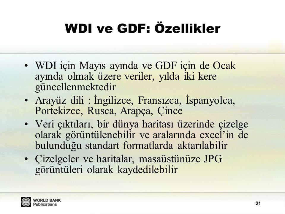 21 WDI ve GDF: Özellikler WDI için Mayıs ayında ve GDF için de Ocak ayında olmak üzere veriler, yılda iki kere güncellenmektedir Arayüz dili : İngilizce, Fransızca, İspanyolca, Portekizce, Rusca, Arapça, Çince Veri çıktıları, bir dünya haritası üzerinde çizelge olarak görüntülenebilir ve aralarında excel'in de bulunduğu standart formatlarda aktarılabilir Çizelgeler ve haritalar, masaüstünüze JPG görüntüleri olarak kaydedilebilir