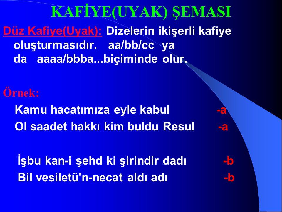 5-Cinaslı Uyak (Kafiye) : Yazılışları aynı,okunuşları aynı,anlamları farklı kelimeler cinaslı kafiyeyi oluşturur. Örnek: Kendin çöz kendin tara Değmes