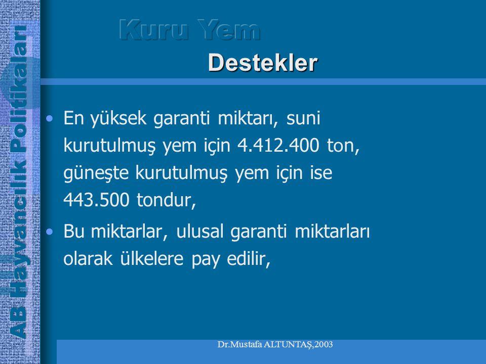 Dr.Mustafa ALTUNTAŞ,2003 En yüksek garanti miktarı, suni kurutulmuş yem için 4.412.400 t o n, güneşte kurutulmuş yem için ise 443.500 tondur, Bu miktarlar, ulusal garanti miktarları olarak ülkelere pay edilir, Destekler