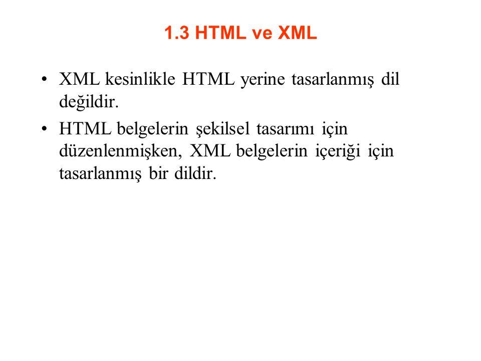 1.3 HTML ve XML XML kesinlikle HTML yerine tasarlanmış dil değildir.