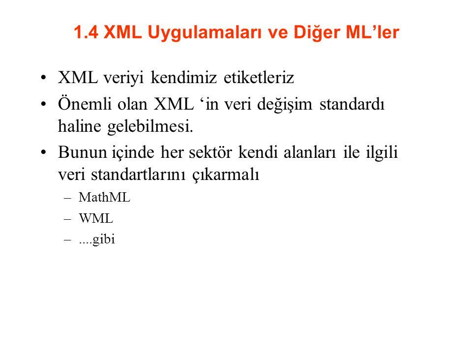 1.4 XML Uygulamaları ve Diğer ML'ler XML veriyi kendimiz etiketleriz Önemli olan XML 'in veri değişim standardı haline gelebilmesi.