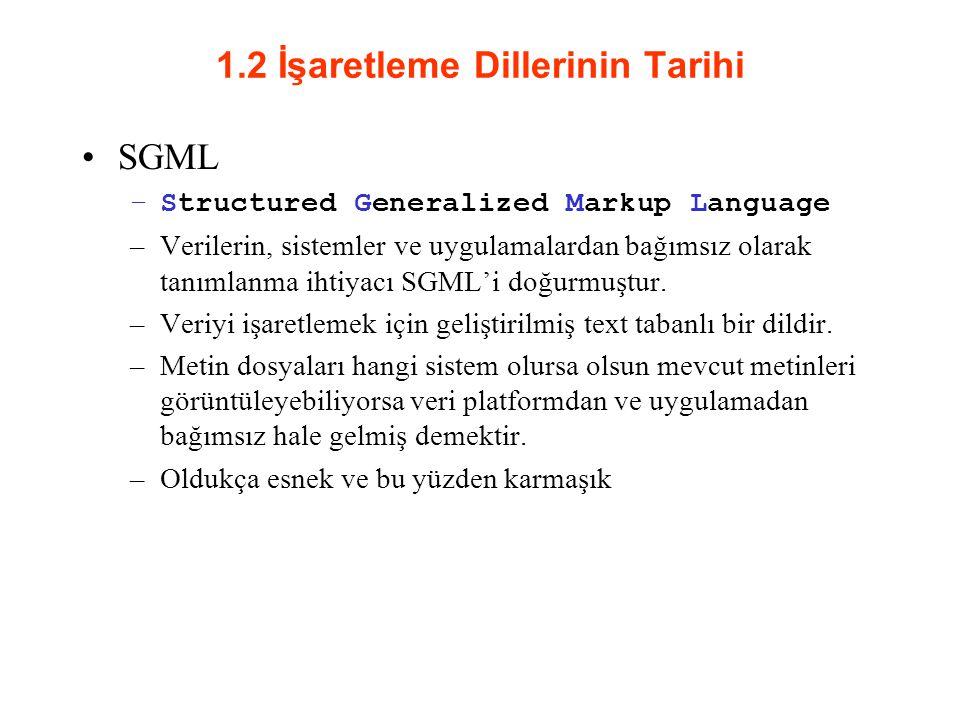 1.2 İşaretleme Dillerinin Tarihi SGML –Structured Generalized Markup Language –Verilerin, sistemler ve uygulamalardan bağımsız olarak tanımlanma ihtiyacı SGML'i doğurmuştur.