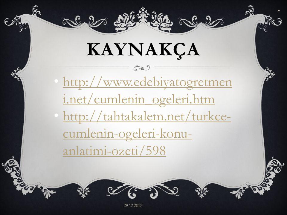 KISACA ÖZNE; 29.12.2012 6 Cümlede işi yapandır.Sözde ve Gizli özne olarak 2 alt türü vardır.